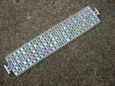 A winter shade of pale...:Tila and seed bead cuff bracelet on Etsy, $34.00