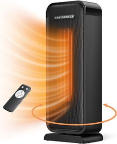 Taotronics TT-HE001 Space Heater, 1500W Electric Portable Fast Heating Widespread Oscillation ECO Mode 12 Hrs Timer with Remote Control for Indoor Use Home, Small, Black Small Portable Heater, Best Space Heater, Makeover Before And After, Birthday Wishlist, Black Decor, Dyi, Office Desk, Compact, Remote
