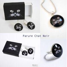 Parure chat noir - bijoux cabochons verre (boucles d'oreilles, collier et bague)