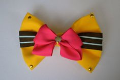 Canary Yellow Hot Pink Two Toned Double Loop Bow by MadebyJewelz, $5.79