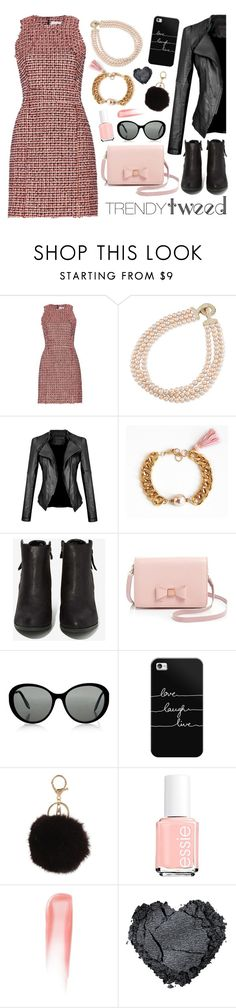 """""""Tweed/Leather - Pink/Black"""" by leinijewelry on Polyvore featuring dVb Victoria Beckham, Carolee, N.Y.L.A., Ted Baker, Victoria, Victoria Beckham, Casetify, Essie, Chantecaille, women's clothing and women"""
