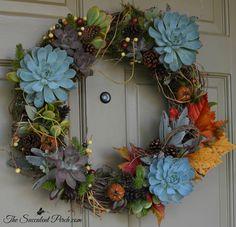 "Autumn-Inspired Succulent Wreath, 18"" & 14"" via www.thesucculentperch.com shipped throughout the continental U.S."