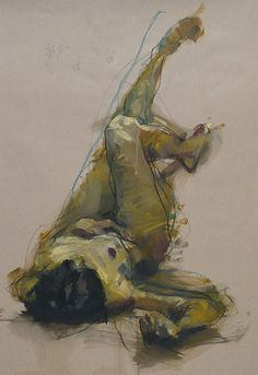 Alan McGowan, supine reclining nude female with legs extended, oil and pastel on paper expressionist drawing, 2011. alanmcgowan.com