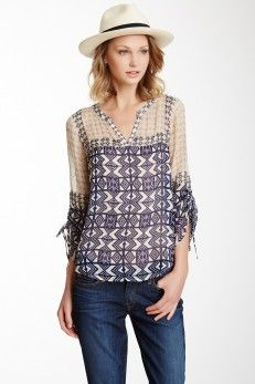 Lucky Brand Tribal Mixed Print Peasant Blouse