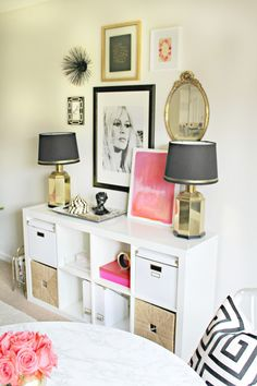 Pop's of Pink + Feminine Chic-Shannon Claire's Home Office Space | The Office Stylist