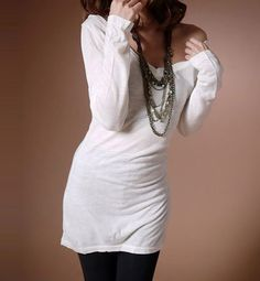 Long Sleeve White Cashmere Long T-shirt