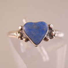 $14.99 Blue Sodalite Heart Sterling Silver Ring Size 7.5 Vintage Jewelry Jewellery by BrightEyesTreasures on Etsy