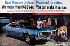 Vintage Car Ads | an original, vintage print advertising for 1970 Mercury Cyclone cars ...