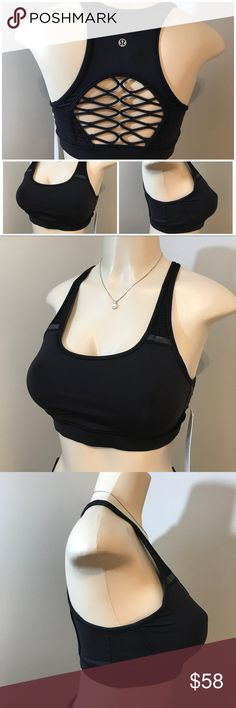 LULULEMON Black Sweaty or Not Bra Size 8 NWT This new Sports bra is intended to provide medium support for a B/C cup. Luxtreme fabric is sweat sucking and four way stretch with added LYCRA fiber for great shape retention. Open details on back for added ventilation. Also has reflective details. Pads not included. Smoke free home. (CR) lululemon athletica Intimates & Sleepwear Bras