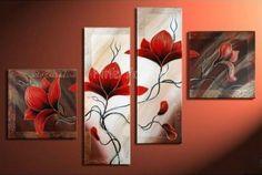 4-piece-abstract-modern-muti-panel-canvas-wall-art-red-font-b-flower-b-font-font.jpg (713×478)