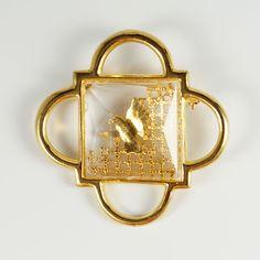Vintage Moshe Safdie 1990 Dove Freedom Peace Gold Tone Quartrefoil Pin Brooch #MosheSafdie #jewelry #pin #brooch #peace #freedom #gothic #Quartrefoil #vintage