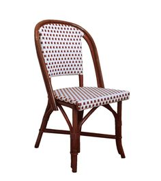 FRENCH BISTRO SIDE CHAIR, HK-81, WEAVE DAMIER, COLORS WHITE & DARK RED, DARK HONEY