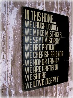 In This HomeHouse RulesAntiqued Plank Typography by cellardesigns. $179.00, via Etsy.