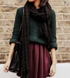 Chunky sweater, scarf and blousy skirt