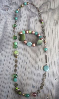 Handmade, OOAK, Asymmetrical Green Jade, Tiger's Eye, and Amazonite Beaded and #Chain Endless Knot Necklace and Bracelet Jewelry Set, Shrivatsa by ChandiniGems on Etsy SEE MORE INFO AT MY SHOP IN LINK jewelry bohemian gemstone jewelry crystal healing  womens jewelry fashionista celtic knot gold gift ideas