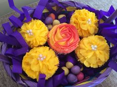 Easter Basket of Cupcakes