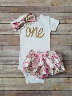 Pink And Gold First Birthday Outfit Floral