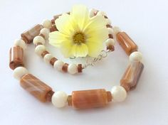 Salmon Agate and Mother of Pearl Gem Bead Necklace