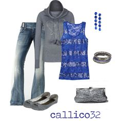"""Silver and Blue"" by callico32 on Polyvore"
