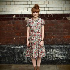 FLORAL DRESS WITH LAYERED COLLAR