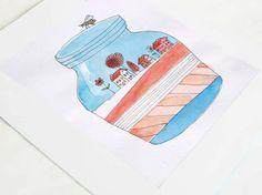 Primavera I- Dibujo original de Caixa de Mistos por DaWanda.com