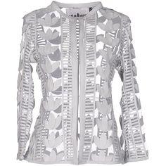 Caban Romantic Blazer ($485) ❤ liked on Polyvore featuring outerwear, jackets, blazers, ivory, blazer jacket, leather sleeve blazer, animal jacket, real leather jackets and ivory jacket