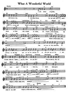 What a wonderful world Guitar Tabs Songs, Music Chords, Piano Songs, Music Lyrics, Alto Sax Sheet Music, Saxophone Music, Guitar Sheet Music, Easy Sheet Music, Easy Piano Sheet Music