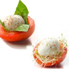 Tomato and mozzarella nests - super easy and great-looking Easter appetizer.