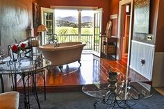 Montrachet Suite at Auberge on the Vineyard in Cloverdale, CA. The bathtub overlooks the vineyard.
