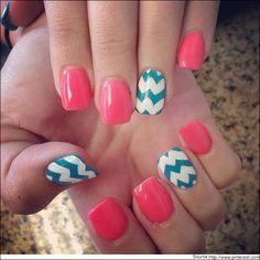 Chevron print nail art  #Chevron #Nailart