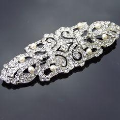 Stunning Rhinestone Crystal Pearl Brooch, Art Deco Vintage Style Wedding Brooch Pin, Vintage Wedding Jewelry, ELLEN on Etsy, 65,57€