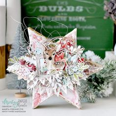This is my star with amazing collection Christmas Stories from :) Dies from Create Christmas Cards, Christmas Gift Tags, Vintage Christmas Cards, A Christmas Story, Diy Christmas Ornaments, Christmas Tree Decorations, Carol Of The Bells, Mixed Media Cards, Mixed Media Scrapbooking