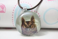 Free US shipping-Glass tile necklace-Owl pendant by GirlySapphire