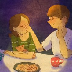 """"""" Every Tue, Fri on Grafolio. You can see more from my original illustration series. Illustration Photo, Couple Illustration, Illustrations, Love Cartoon Couple, Cute Couple Art, Love Is Sweet, Cute Love, Anime Love, Puuung Love Is"""