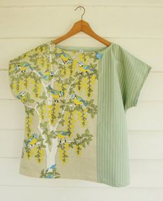 Upcycled Womens Shirt Top Blouse Vintage Linen Tea by apieceofpie, $72.10