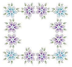 Floral Flower Square Frame Paper Embroidery Pattern for Greeting Cards