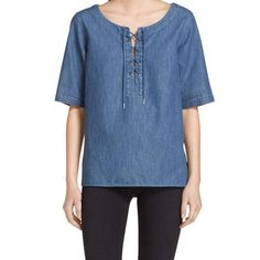 Rag and Bone Indigo Lace Up Top