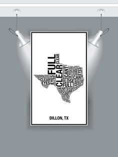 Typography Map Print Clear Eyes Full Hearts Can't Lose by TPYOART, $10.00