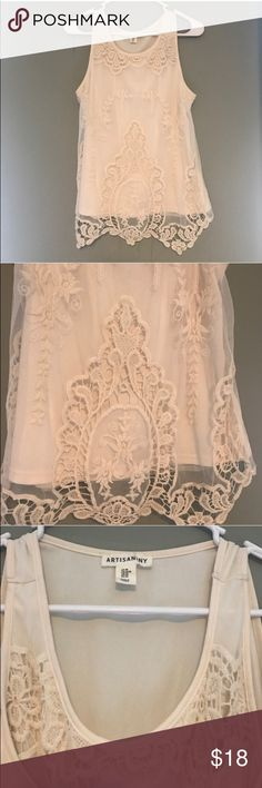 Gorgeous lace top!!  Gorgeous lace top! Cream colored! Flattering fit!  Artisan Ny Tops