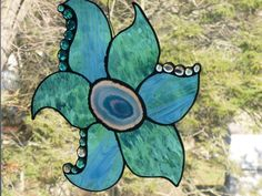 Stained Glass Agate Flower in Aqua. Starting at $50 http://tophatter.com/auctions/17781?campaign=featured=internal