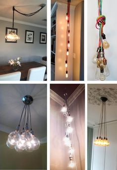 7 Pendant Cluster Custom Any Colors Any Lengths Multi Pendant Lighting Cluster Chandelier Cloth Cord Industrial lamp Vintage Fabric Wire LED