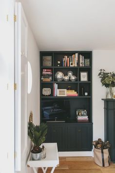 How I Saved On My Alcove Shelving Built-in Bookcase with Shelving Cubbies - get wood panels cut Alcove Ideas Living Room, Bedroom Alcove, Built In Shelves Living Room, Living Room Storage, My Living Room, Living Room Designs, Living Room Decor, Alcove Decor, Living Room Cupboards