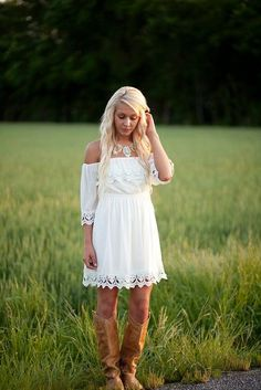 dress white lace southern trendy vintage off the shoulder country boots Source by ChitabyAnndrea dresses Dresses With Cowboy Boots, Cowgirl Dresses, Western Dresses, Cowgirl Boots, Western Dress With Boots, Country Fashion, Country Outfits, Country Boots, White Country Dress