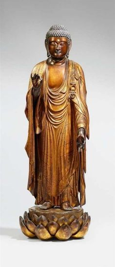 Lot : Großer stehender Amida Nyorai. Holz mit Schwarzlack und Vergoldung. Edo-Zeit,[...] | Dans la vente Art d'Asie à Kunsthaus Lempertz