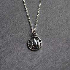 Silver Lotus Necklace, Tiny Sterling Silver Lotus Flower Charm Necklace