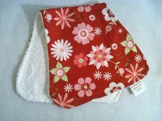 Pink and Green Floral Burp Rag
