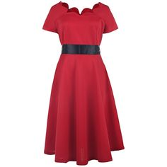 Vintage Style Scoop Neck Short Sleeve Red Women s Ball Gown Dress (£21) ❤ liked on Polyvore featuring dresses, gowns, scoop-neck dresses, red ball gown, vintage looking dresses, red short sleeve dress and red gown
