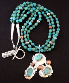 3-Stone Hachita Turquoise, Reticulated Sterling and Copper Pendant with 3 Strands of Turquoise, Czech Glass, Copper & Sterling