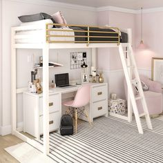 Little Seeds Monarch Hill Haven White and Gold Twin Metal Loft Bed Cute Bedroom Ideas, Room Ideas Bedroom, Teen Room Decor, Small Room Bedroom, Awesome Bedrooms, Tween Girls Bedroom Ideas, Master Bedroom, Lego Bedroom, Small Bedroom Ideas For Teens