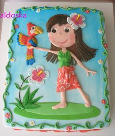 Girl with parrot  Cake by aldoska